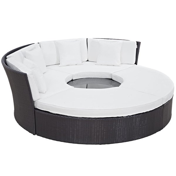 Convene White Fabric Synthetic Rattan Glass Outdoor Patio Daybed Set EEI-2171-EXP-WHI-SET