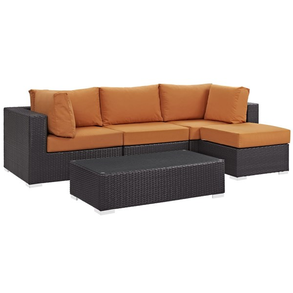 Convene Orange Fabric Rattan Glass 5pc Outdoor Patio Sofa Set EEI-2172-EXP-ORA-SET