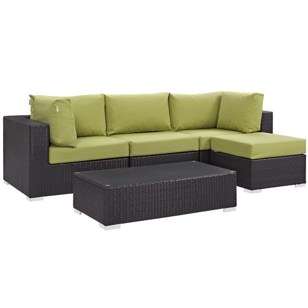 Modway Furniture Convene Espresso Peridot 5pc Outdoor Patio Sectional EEI-2172-EXP-PER-SET