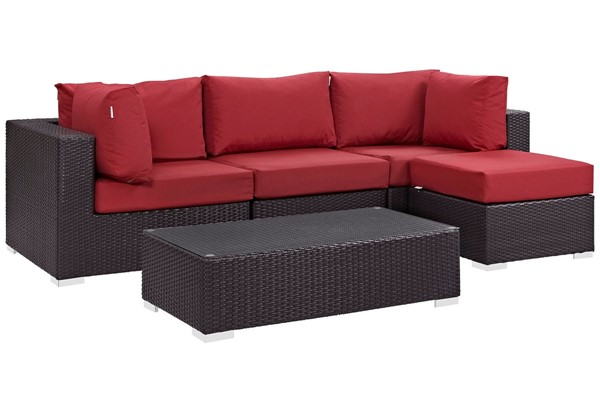 Modway Furniture Convene Espresso Red 5pc Outdoor Patio Sectional EEI-2172-EXP-RED-SET