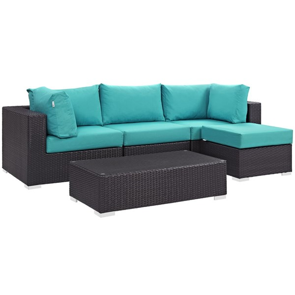 Modway Furniture Convene Espresso Turquoise 5pc Outdoor Patio Sectional EEI-2172-EXP-TRQ-SET