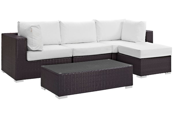 Modway Furniture Convene Espresso White 5pc Outdoor Patio Sectional EEI-2172-EXP-WHI-SET