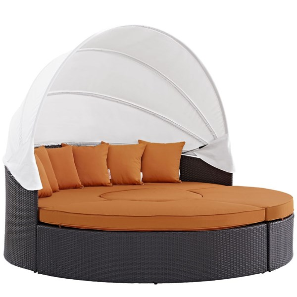 Convene Espresso Orange Fabric PE Rattan Canopy Outdoor Patio Daybed EEI-2173-EXP-ORA-SET