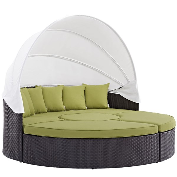 Modway Furniture Convene Espresso Peridot Outdoor Patio Canopy Daybed EEI-2173-EXP-PER-SET