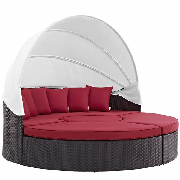 Modway Furniture Convene Espresso Red Outdoor Patio Canopy Daybed EEI-2173-EXP-RED-SET