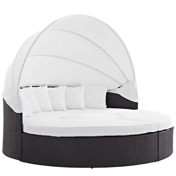 Modway Furniture Convene Espresso White Outdoor Patio Canopy Daybed EEI-2173-EXP-WHI-SET