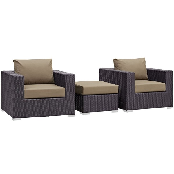 Modway Furniture Convene Espresso Mocha 3pc Outdoor Patio Chair and Ottoman EEI-2174-EXP-MOC-SET