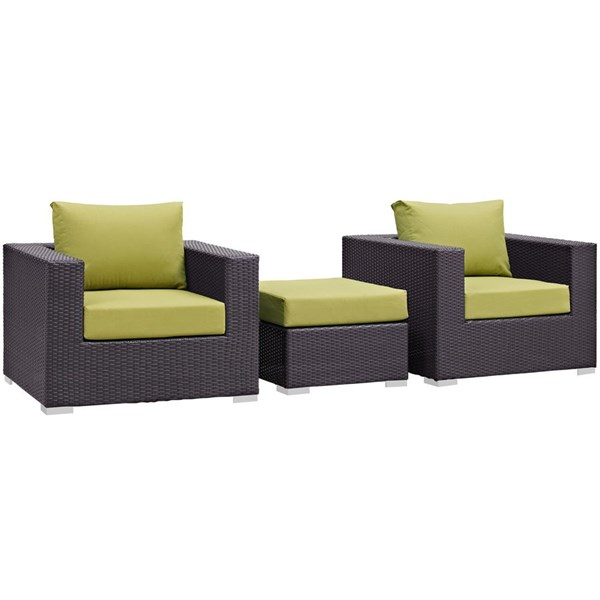Modway Furniture Convene Espresso Peridot 3pc Outdoor Patio Chair and Ottoman EEI-2174-EXP-PER-SET