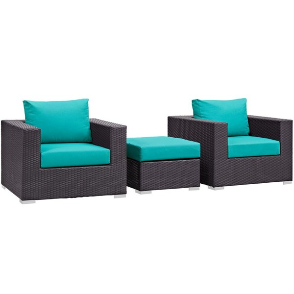 Modway Furniture Convene Espresso Turquoise 3pc Outdoor Patio Chair and Ottoman EEI-2174-EXP-TRQ-SET