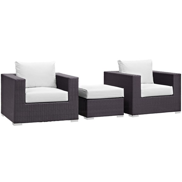 Modway Furniture Convene Espresso White 3pc Outdoor Patio Chair and Ottoman EEI-2174-EXP-WHI-SET