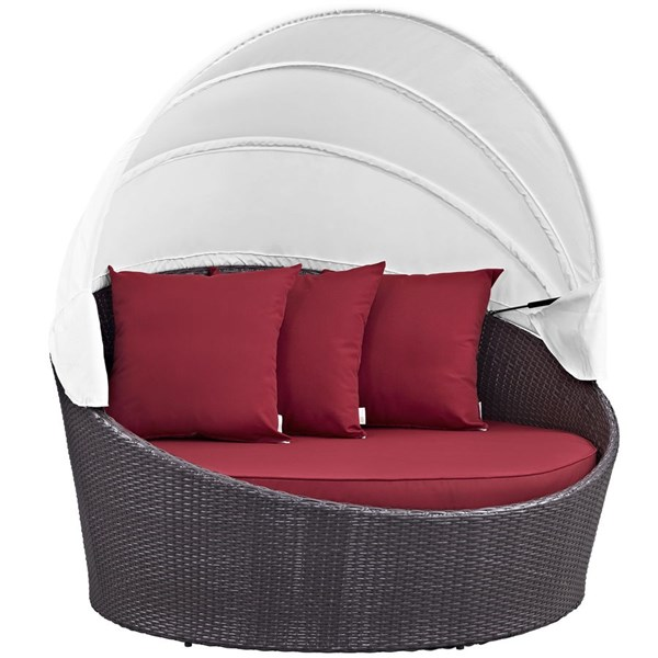 Modway Furniture Convene Espresso Red Canopy Outdoor Patio Daybed EEI-2175-EXP-RED