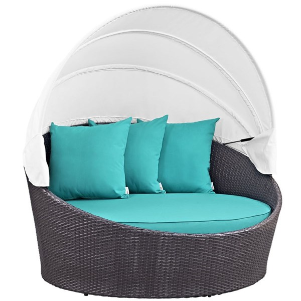 Modway Furniture Convene Espresso Turquoise Canopy Outdoor Patio Daybed EEI-2175-EXP-TRQ