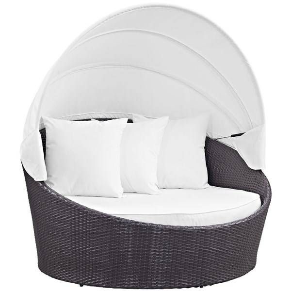 Modway Furniture Convene Espresso White Canopy Outdoor Patio Daybed EEI-2175-EXP-WHI
