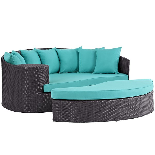 Convene Turquoise Fabric Synthetic Rattan Outdoor Patio Daybed EEI-2176-EXP-TRQ