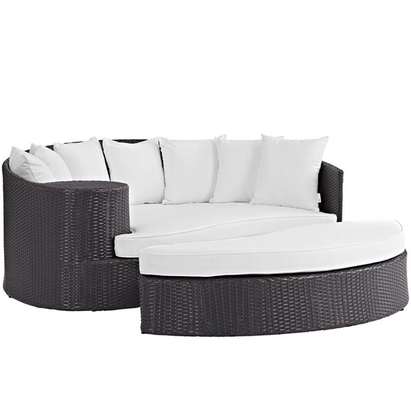Modway Furniture Convene Espresso White Outdoor Patio Daybed EEI-2176-EXP-WHI