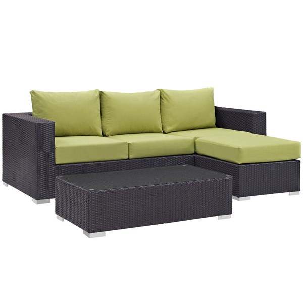 Convene Espresso Peridot Fabric EXP Rattan 3pc Outdoor Patio Sofa Set EEI-2178-EXP-PER-SET