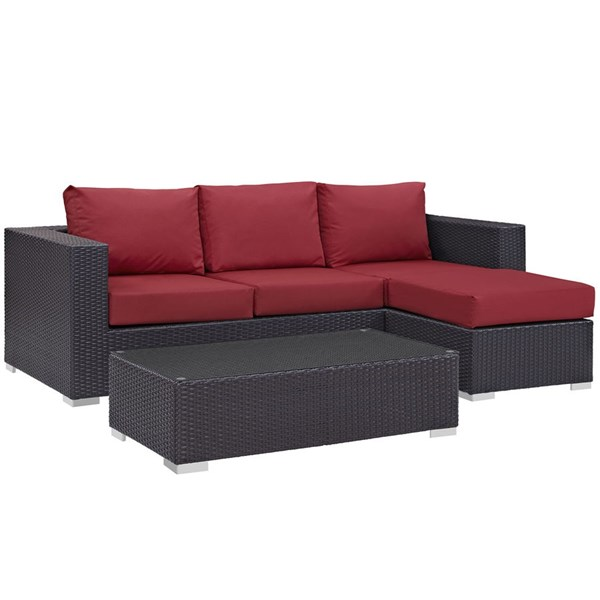 Modway Furniture Convene Espresso Red Fabric 3pc Outdoor Patio Sofa Set EEI-2178-EXP-RED-SET