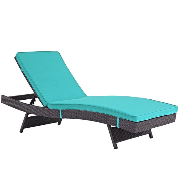 Modway Furniture Convene Espresso Turquoise Outdoor Patio Chaise EEI-2179-EXP-TRQ