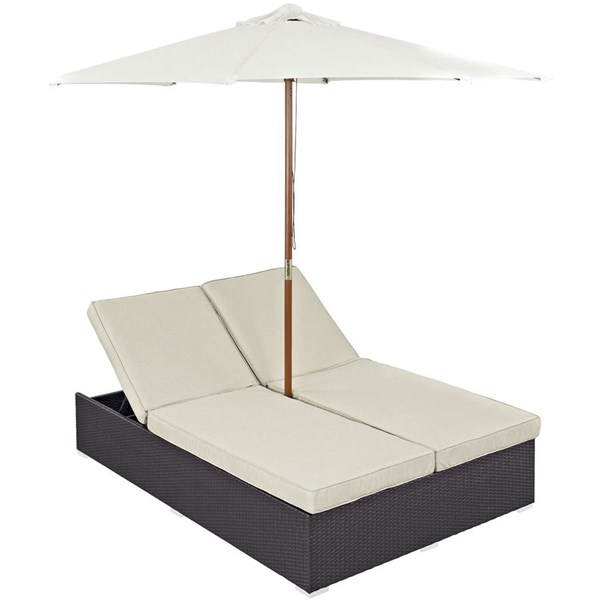 Modway Furniture Convene Espresso Beige Double Outdoor Chaise EEI-2180-EXP-BEI-SET