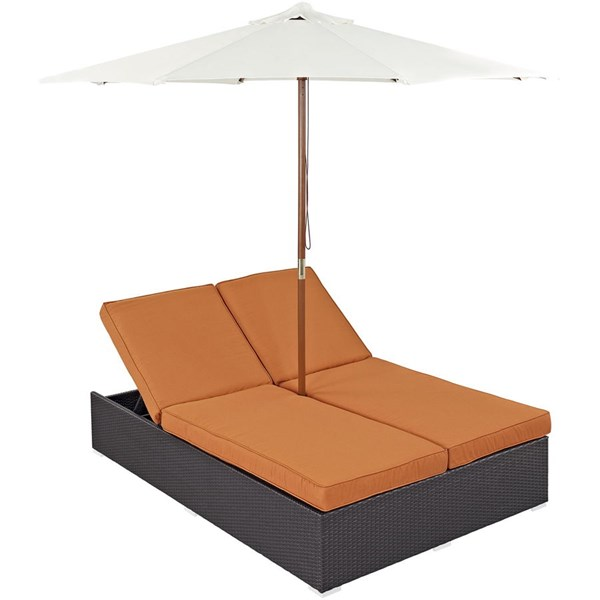Convene Espresso Orange Fabric PE Rattan Double Outdoor Chaise EEI-2180-EXP-ORA-SET