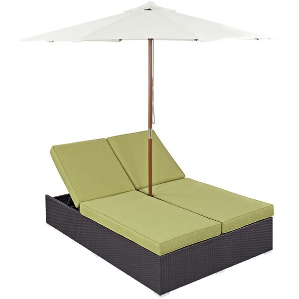 Modway Furniture Convene Espresso Peridot Double Outdoor Chaise EEI-2180-EXP-PER-SET