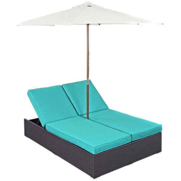 Modway Furniture Convene Espresso Turquoise Double Outdoor Chaise EEI-2180-EXP-TRQ-SET