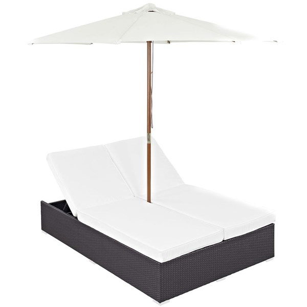 Modway Furniture Convene Espresso White Double Outdoor Chaise EEI-2180-EXP-WHI-SET