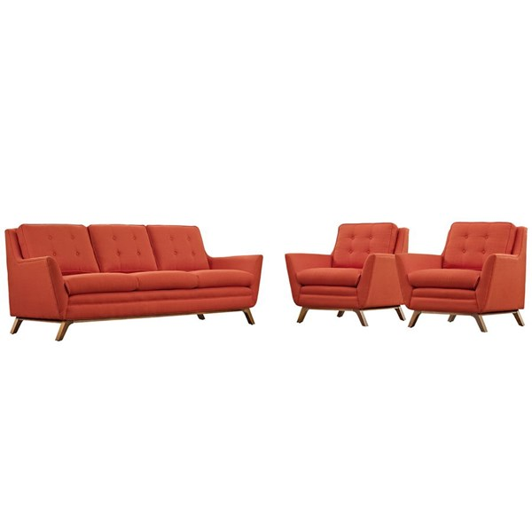 Beguile Atomic Red Fabric Wood 3pc Living Room Set EEI-2184-ATO-SET