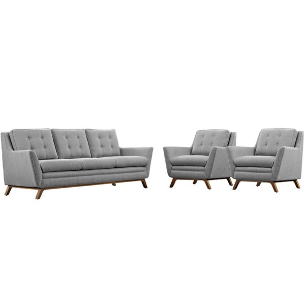 Beguile Expectation Gray Fabric Wood 3pc Living Room Set EEI-2184-GRY-SET