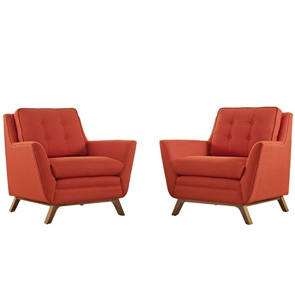 Beguile Atomic Red Fabric Wood 2pc Living Room Sets EEI-2185-SET-VAR