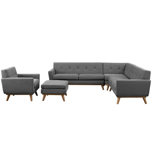 Engage Expectation Gray Fabric Wood 5pc Sectional EEI-2186-DOR-SET