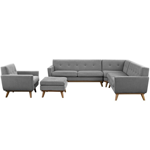 Engage Gray Fabric Wood 5pc Sectional EEI-2186-GRY-SET