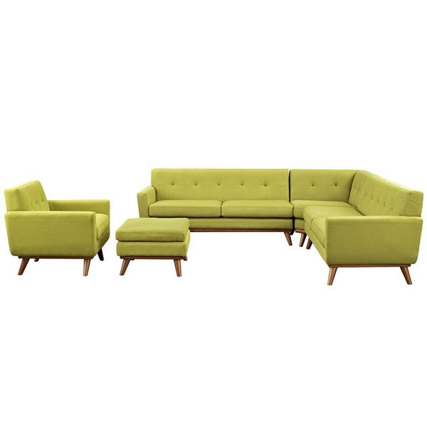 Engage Wheatgrass Fabric Wood 5pc Sectional EEI-2186-WHE-SET