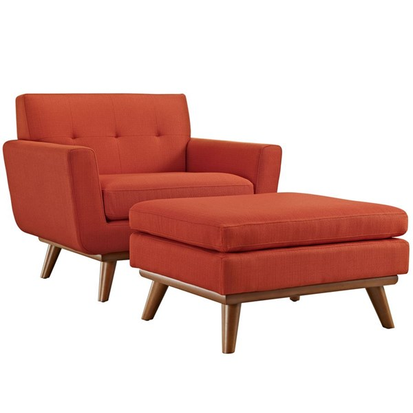 Engage Atomic Red Fabric Wood Armchair & Ottomans EEI-2187-CHO-VAR