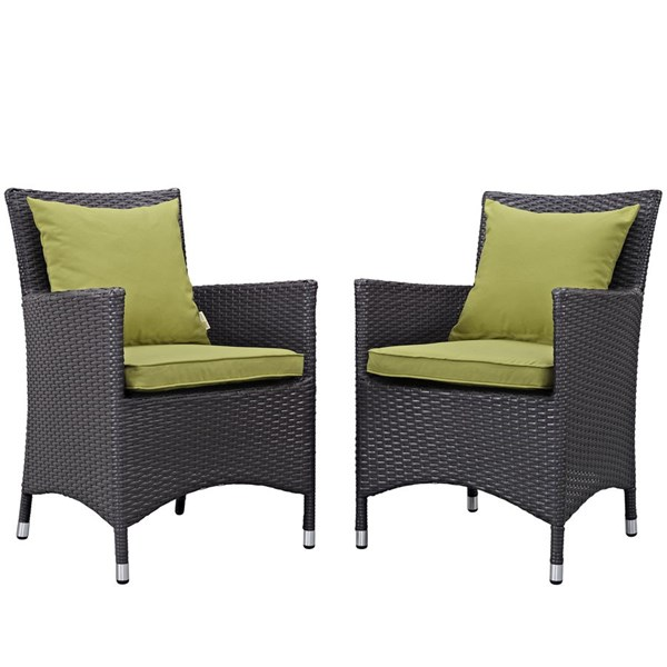 2 Modway Furniture Convene Espresso Peridot Outdoor Patio Dining Chairs EEI-2188-EXP-PER-SET
