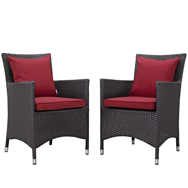2 Modway Furniture Convene Espresso Red Outdoor Patio Dining Chairs EEI-2188-EXP-RED-SET