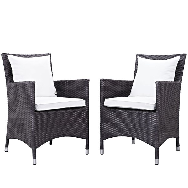 2 Modway Furniture Convene Espresso White Outdoor Patio Dining Chairs EEI-2188-EXP-WHI-SET