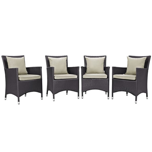 4 Modway Furniture Convene Espresso Beige Outdoor Dining Chairs EEI-2190-EXP-BEI-SET