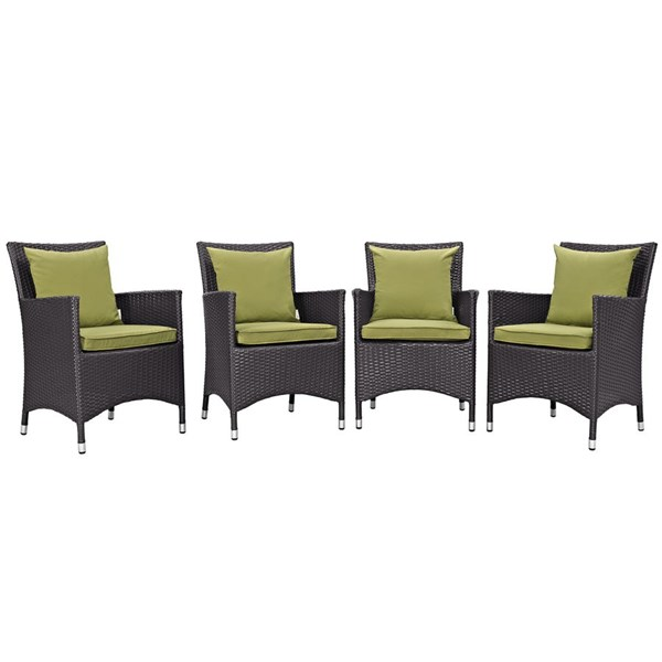 4 Modway Furniture Convene Espresso Peridot Outdoor Dining Chairs EEI-2190-EXP-PER-SET
