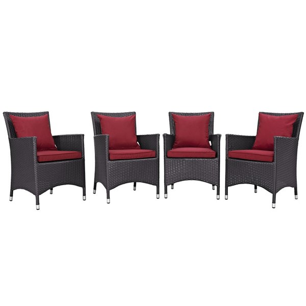 4 Modway Furniture Convene Espresso Red Outdoor Dining Chairs EEI-2190-EXP-RED-SET