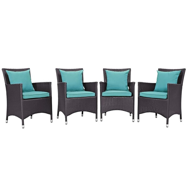 4 Convene Espresso Turquoise Rattan Outdoor Patio Dining Chairs EEI-2190-EXP-TRQ-SET