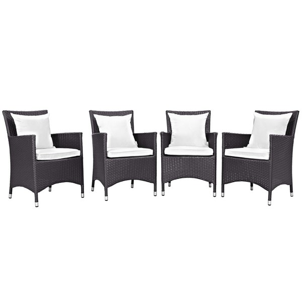 4 Convene Espresso White Rattan Outdoor Patio Dining Chairs EEI-2190-EXP-WHI-SET