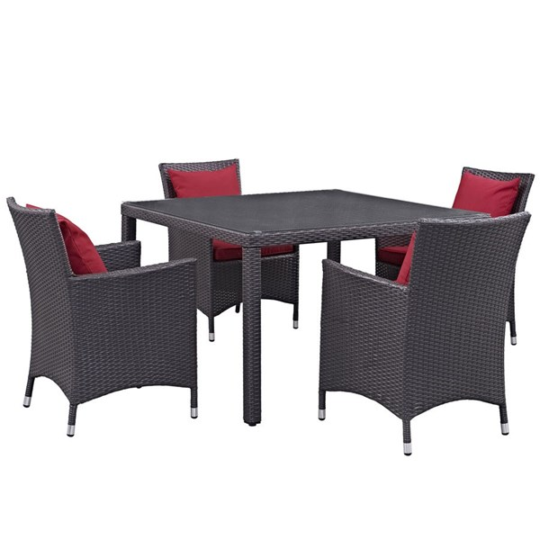 Modway Furniture Convene Espresso Red 5pc Outdoor Patio Dining Set EEI-2191-EXP-RED-SET