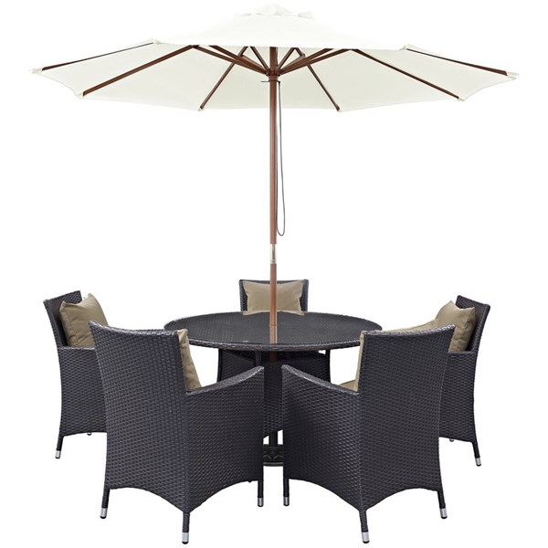 Convene Espresso Mocha PE Rattan Glass 7pc Outdoor Patio Dining Set EEI-2193-EXP-MOC-SET