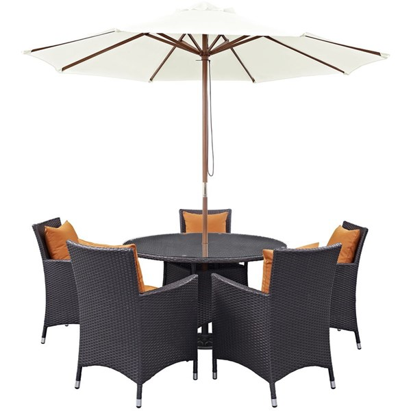 Modway Furniture Convene Espresso Orange 7pc Round Outdoor Patio Dining Set EEI-2193-EXP-ORA-SET