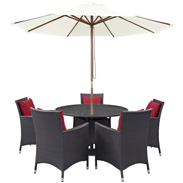Convene Espresso Red PE Rattan Glass 7pc Outdoor Patio Dining Set EEI-2193-EXP-RED-SET