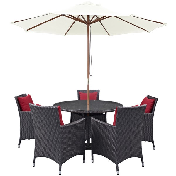 Modway Furniture Convene Espresso Red 7pc Round Outdoor Patio Dining Set EEI-2193-EXP-RED-SET