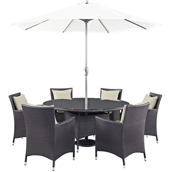 Modway Furniture Convene Espresso Beige 8pc Outdoor Patio Dining Set EEI-2194-EXP-BEI-SET