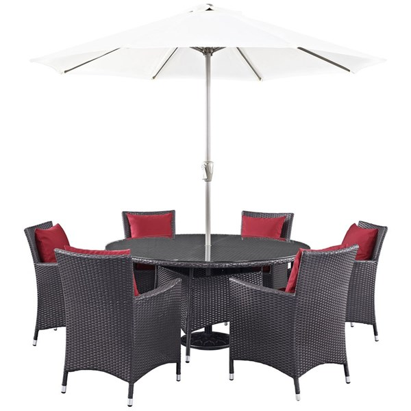 Modway Furniture Convene Espresso Red 8pc Outdoor Patio Dining Set EEI-2194-EXP-RED-SET
