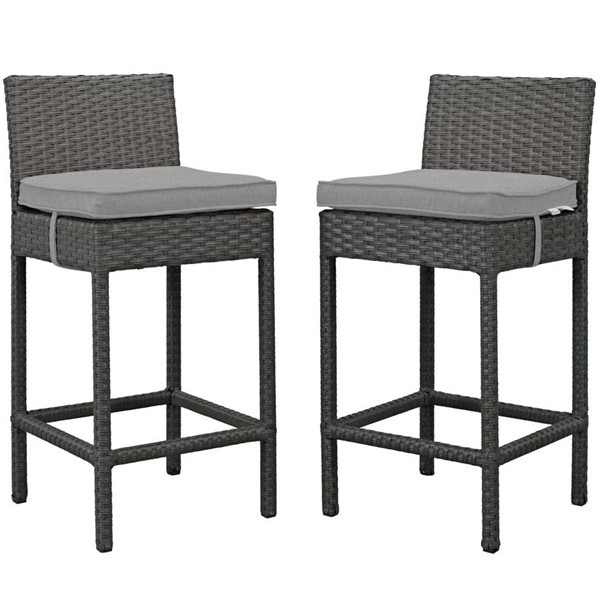 2 Modway Furniture Sojourn Gray Outdoor Sunbrella Bar Stools EEI-2195-CHC-GRY-SET